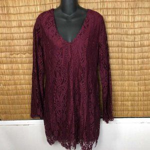 Miami M Burgundy Lace Dress Above Knee Long Sleeve